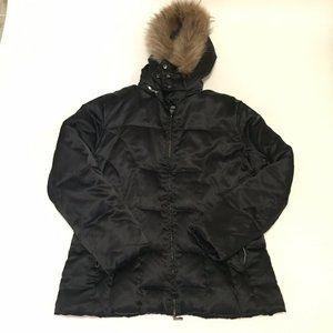 ANA Black Puffer Coat Down Fill Fur Trim